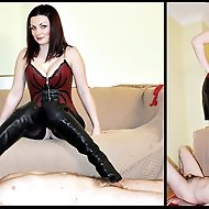 Heelena's foot slave needs to learn how to worship her, starting with her open-toe leather boots, then her stockinged feet