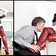 It's late on a Friday at the office and Arella has decided to surprise her boss with her sexy leather outfit.