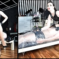 Lady Victoria Valente has her slave just where she wants him. Wrapped tightly in cling film with his cock exposed for repeated milkings.