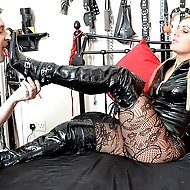 Mistress Athena is determined her slave will see heavy use today. She will not even put a well-heeled foot out of bed until her slave has worshipped t