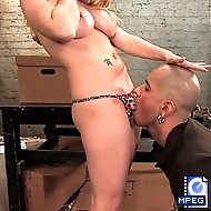 Mean Bitch Aiden Starr fucks up bitch boy with her strap on