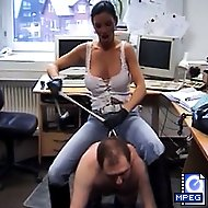 Luscious Carmen bridles her slave and humiliates him for fun in his office