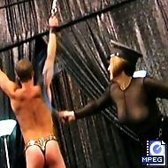 A spinning bondage wheel ,and padded spanking bench feature prominently in conjunction with nipple play, cbt, and clothespin cropping